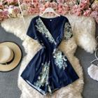 V-neck Floral Print Short-sleeve Playsuit
