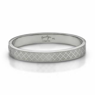 Checkered Steel Bangle(l) Steel - One Size