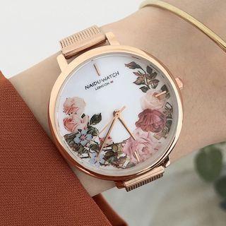 Floral Print Alloy Mesh Strap Watch