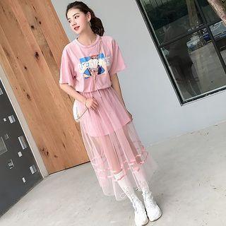 Set: Short-sleeve Graphic Print T-shirt Dress + Mesh A-line Midi Skirt