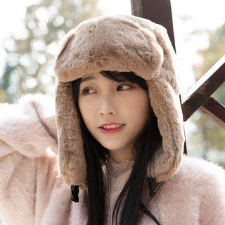 Furry-trim Earflap Knit Hat