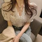 V Collar Puff-sleeved Lace Top As Shown In Figure - One Size