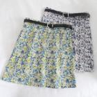 Belted Floral Print Mini Skirt