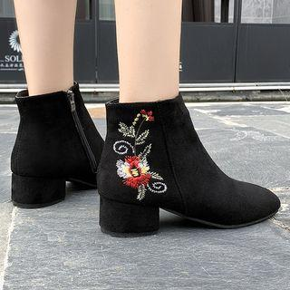 Chunky Heel Floral Embroidered Ankle Boots