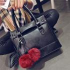 Pompom Faux Leather Shoulder Bag