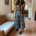 Plaid Pleated Maxi A-line Skirt