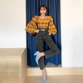 High-waist Straight-cut Jeans With Sash