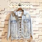Ripped Buttoned Hooded Denim Jacket