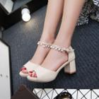 Pearl Ankle Strap Block Heel Sandals
