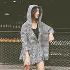 Gingham Hooded Long-sleeve Top
