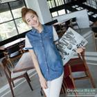 Lace-sleeve Denim Shirt