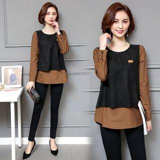 Mock Two-piece Long-sleeve Two-tone Top