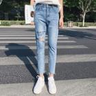 Cropped Rip Skinny Jeans