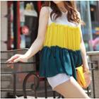 Sleeveless Contrast-color Chiffon Top