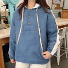Buttoned Placket Contrast Trim Hoodie