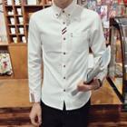 Ribbon Trim Long-sleeve Shirt