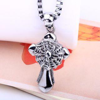 Skull Spider Web & Cross Pendant Necklace