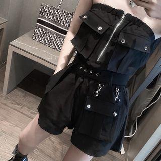 Strapless Zip-up Cargo Playsuit