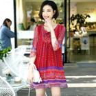 Patterned Tied Silk Dress