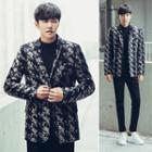 Notched-lapel Printed Buttoned Jacket