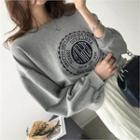 Drop-shoulder Lettering Embroidered Sweatshirt