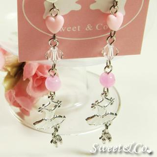 Sweet Pink Ballet Dress Swarovski Crystal Silver Earrings