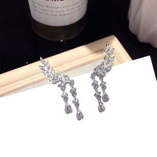 Rhinestone Branches Fringed Earring 1 Pair - Silver Needle - Silver - One Size
