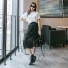 Tulle-overlay Textured Midi Skirt