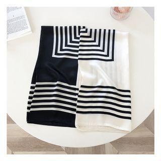 Striped Print Silk Scarf