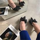 Bow-detail Dotted Mules