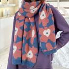 Floral Print Knit Scarf