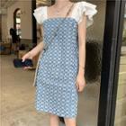 Patterned Ruffled Sleeveless A-line Dress