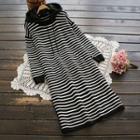 Striped Hooded Knit Midi Dress