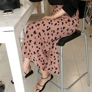 Leopard Long Flare Skirt