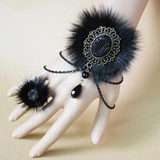 Fur Elegant Bracelet & Ring Set  Black - One Size