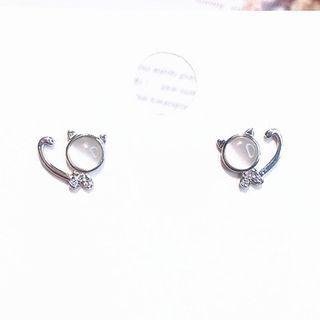 Cat Eye Stone Earring As Shown In Figure - One Size