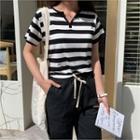Open-placket Striped T-shirt