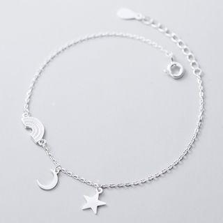 925 Sterling Silver Rainbow Moon & Star Bracelet 925 Sterling Silver - Bracelet - One Size