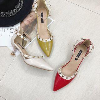 Ankle Strap Studded Kitten-heel Pumps