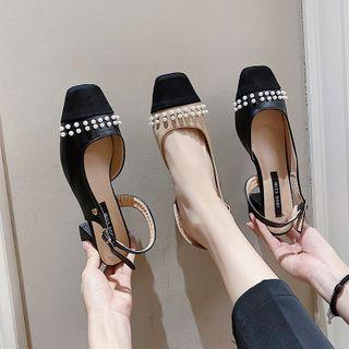 Embellished Slingback Block-heel Sandals