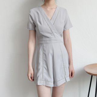 Short-sleeve V-neck Playsuit