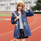 Embroidered Drawstring Hooded Denim Jacket