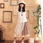 Floral Print Panel Tank Dress Almond - One Size