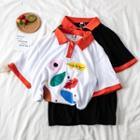 Contrast Trim Print Polo Shirt