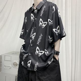 Elbow-sleeve Printed Loose Fit Shirt
