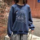 Long-sleeve Bear Printed Sweatshirt