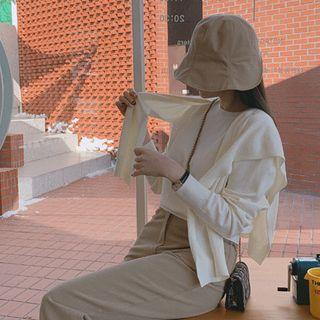 Set: Round-neck Textured Knit Top + Shawl