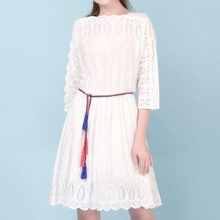 Perforated 3/4 Sleeve Dress