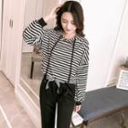 Set: Striped Hooded Pullover + Harem Pants