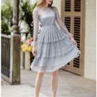 Long-sleeve Mesh Layer Dress